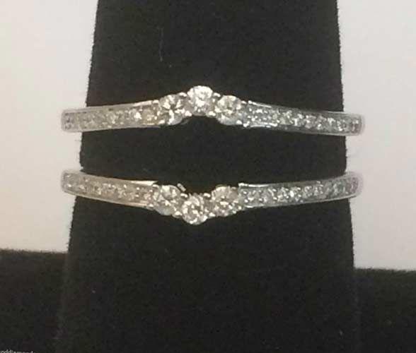 White Gold Past Present Future Round Diamonds Ring Guard Wrap (0.25ct. tw) - RG331514683786... #14kt #gold #diamond #bridal #engagement #wedding #ring #fashion #jewelry #jewelryring #diamondring #engagementring #fashionring #lovely #Ringguard #Warp #Enhancer #Ringjacket