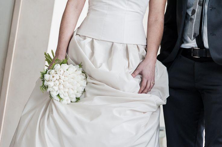 bouquet sposa di tulipani bianchi