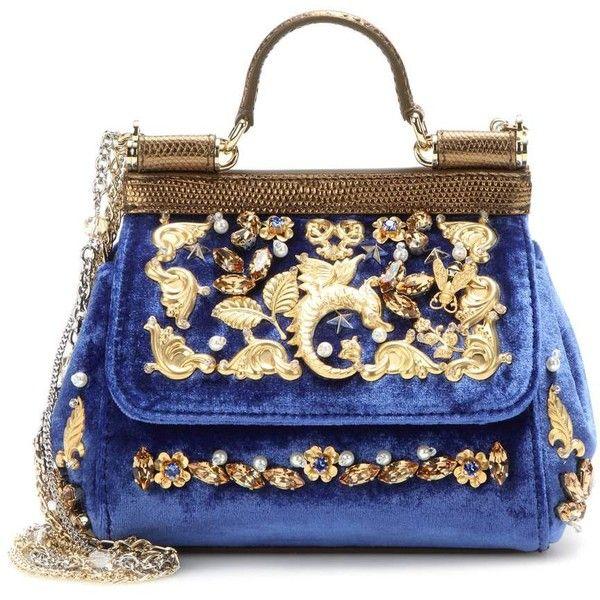 Dolce & Gabbana Miss Sicily Mini Embellished Velvet Shoulder Bag ($3,430) ❤ liked on Polyvore featuring bags, handbags, shoulder bags, blue, velvet handbag, blue handbags, miniature purse, mini purse and mini handbags