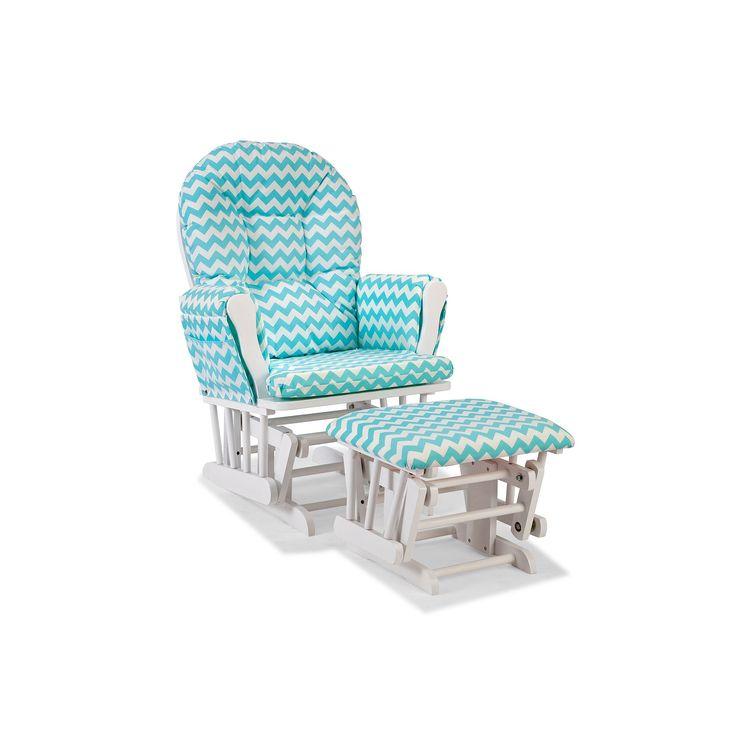 Stork Craft Chevron Hoop Custom Glider Chair and Ottoman Set, Blue ...