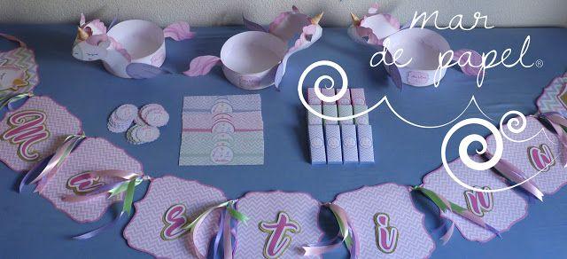 MAR DE PAPEL: El cumple5 de Martina: unicornios en tonos pastele...