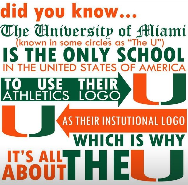 Did U Know?  The University of Miami is the only school . . . because we set the trends!