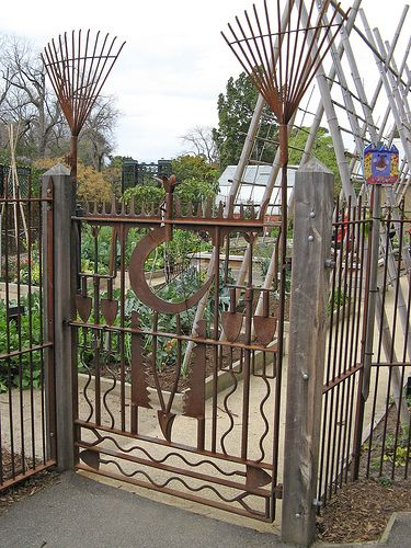 Repurposed Garden Tool Gate! (entrance to a children's garden)