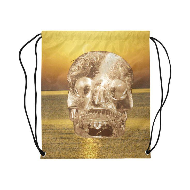 Crystal Skull Gold Basketball Drawstring Bag Model 1604 (Twin Sides)  16.5