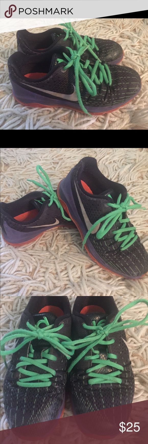 Boys KD sneakers Black and green KD's with Purple and orange soles Nike Shoes Sneakers