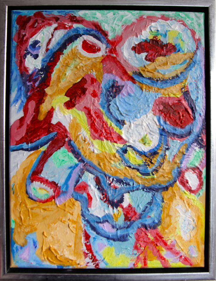 Il declino antropogenico del evoluzione – Menneskeskabt tilbagefald i evolutionen, 40 x 30 cm acrylic on canvas.