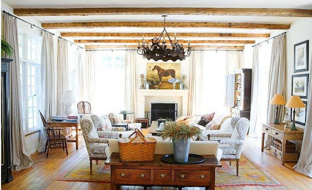 Love the White walls with Exposed Beams
