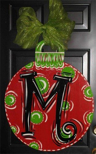 Love this!: Idea, Back Doors, Doors Decor, Doors Hangers, Christmas Doors, Front Doors, Christmas Decor, Christmas Ornaments, By Hangers