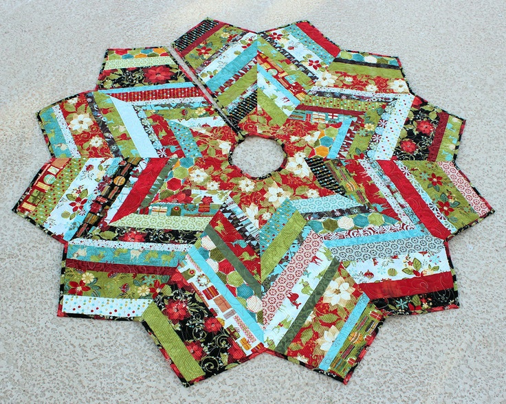 Christmas Tree Skirt Quilt - 53 Inch Jovial Strings