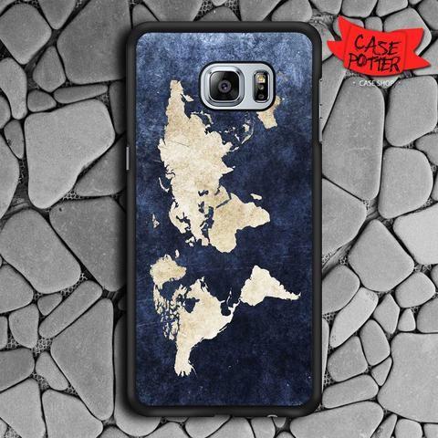 World Grunge Map Samsung Galaxy S6 Edge Black Case