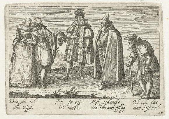 """Four Sexual Ages of Man, from the """"Pugillus Facetiarum"""" (Strasbourg, 1608) -- a collection of prints designed to be used or copied into students' alba amicorum -- as indeed they were -- see next. Speeches in trans., l to r : """"I do this all day."""" """"I do this when I can."""" """"I think I used to do that.""""  """"Good God! Do people still do that?"""""""