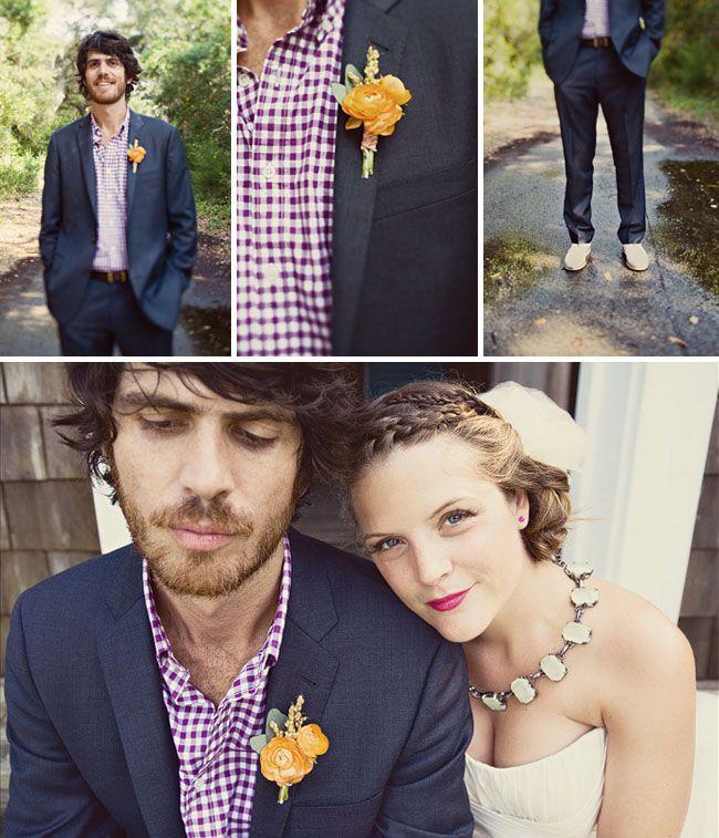 Stylish gingham groom via Green Wedding Shoes.