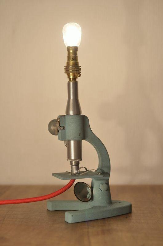 Vintage microscope light. Www.lostandfoundry.co.uk