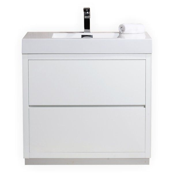 The Tenafly is one of the most elegant modern bathroom vanities around. This model comes with a reinforced acrylic composite sink, MDO wood constructed console that is fully moisture and water proof, with high quality European hardware that provides easy click, push-open drawers.