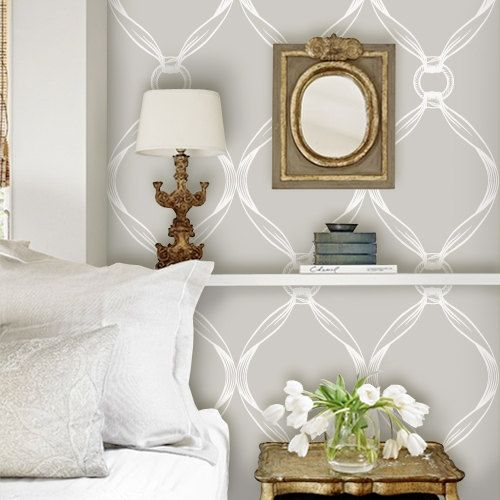 Tiffany Knots light grey Peel & Stick Fabric WallPaper has adhesive back with re-positionable and removable. It also can be re-applied over and over