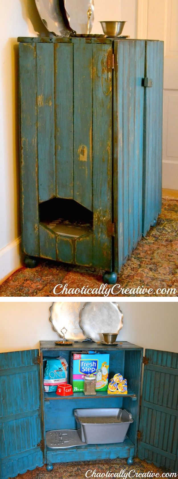 Reclaimed Porch Boards Kitty Litter Cabinet | 27 Useful DIY Solutions For Hiding The LitterBox