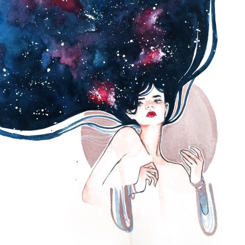 "kelogsloops: ""i've got a thing for watercolour galaxies """