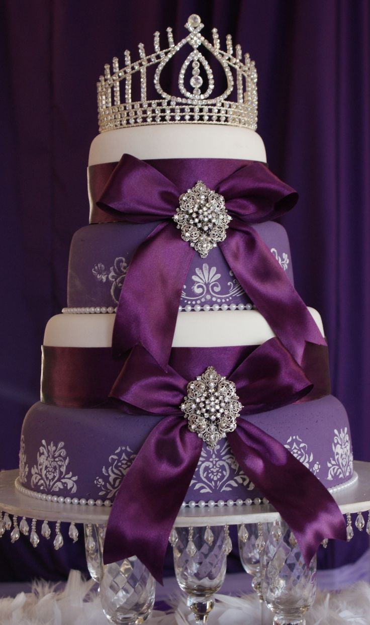 63 best purple wedding cakes images on pinterest wedding cakes tiered royal purple cake with ribbons and diamond crown fit for a queen junglespirit Gallery
