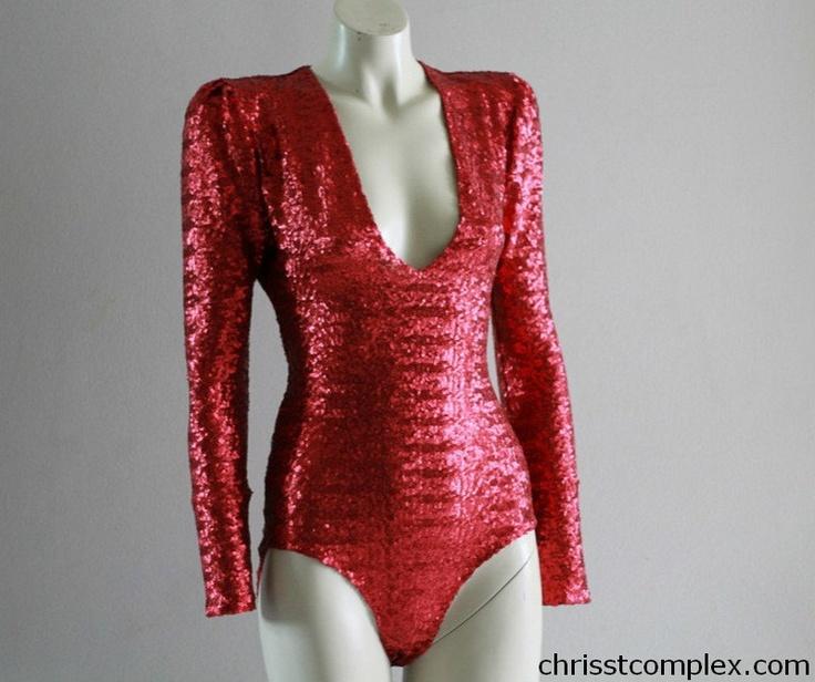 Bodysuit Red Sequin Long Sleeve Ready Made Chrisst by chrisst