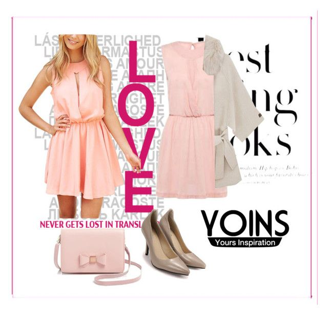 """""""Pink Sleeveless Chiffon Dress With Cut Out Details - Yoins"""" by autumn-soul ❤ liked on Polyvore featuring H&M and Ted Baker"""
