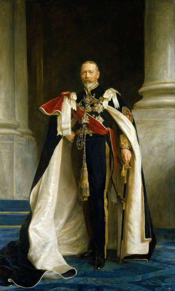 """King George V (George Frederick Ernest Albert) (1865-1936), (3 Jun 1865-20 Jan 1936) UK by Arthur Stockdale Cope in 1928. 2nd Child of King Edward VII (Albert Edward) (1841-1910) UK & wife Princess Alexandra (1844-1925) Denmark. Husband 1893 of Princess Mary """"May"""" (Victoria Mary Augusta Louise Olga Pauline Claudine Agnes) (26 May 1867-24 Mar 1953) Teck, Germany. 1st child of Prince Francis (1837-1900) Teck, Germany & Princess Mary Adelaide (1833-1897) UK. His reign:1910-1936."""
