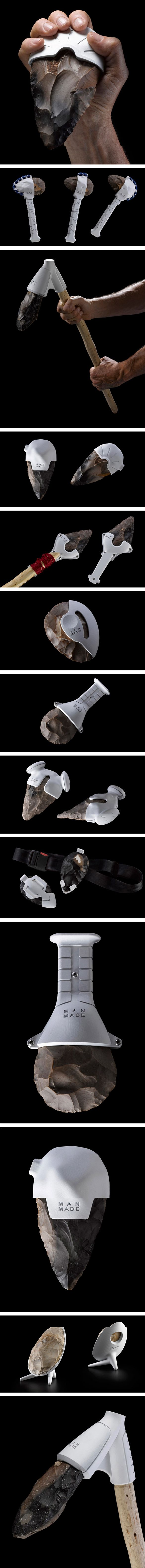 A project by designers Ami Drach and Dov Ganchrow (http://www.amidov.com/) entitled Man Made - creating 3D printed accessories for flint hand-axes.