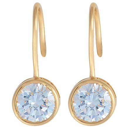 9ct Gold CZ Shepherd Hook Earrings