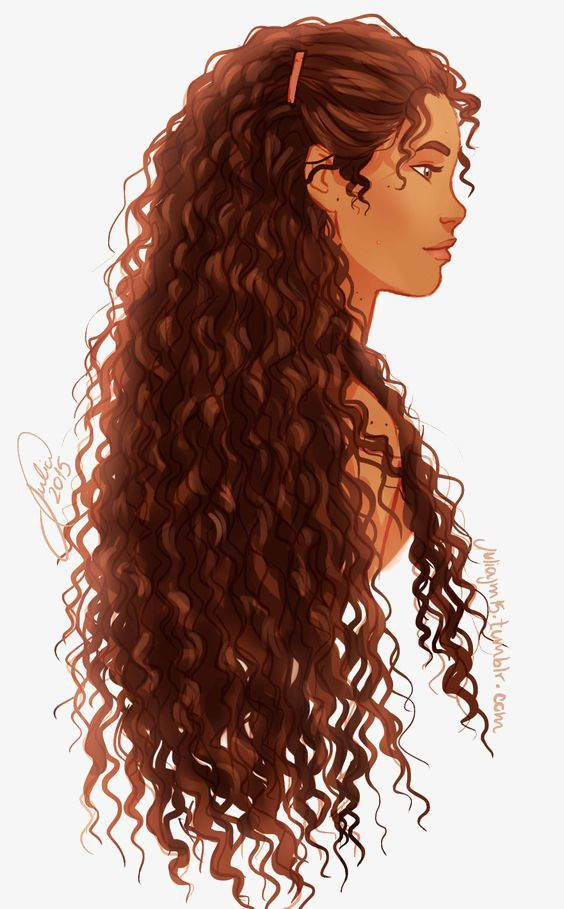 curly hair girl art in 2019