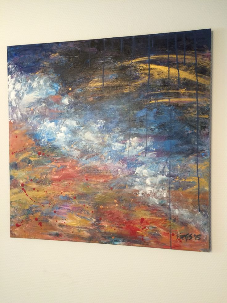 Abstract Painting - Blue, Orange, Gold. Acrylic on canvas
