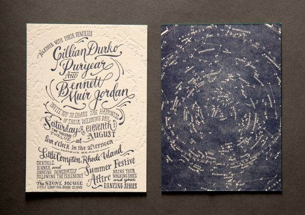 Love the concept and the effect of two-sided printing...not realistic? constellation-wedding-invitations