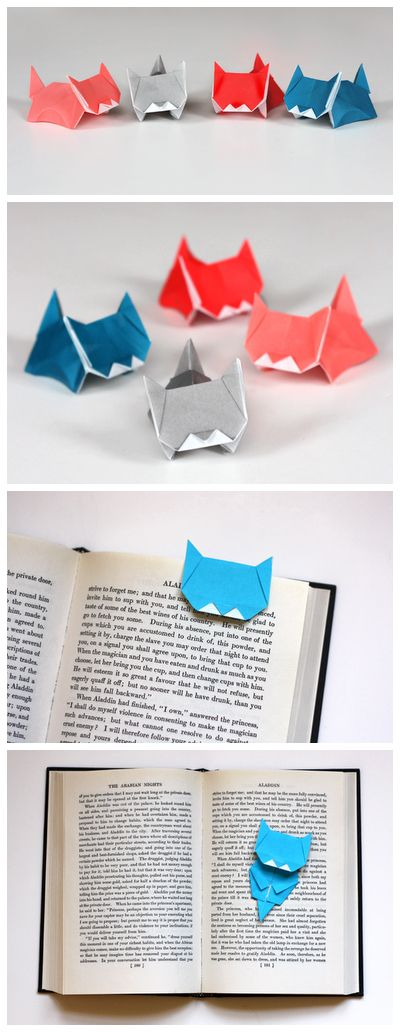 Marque-page origami chat