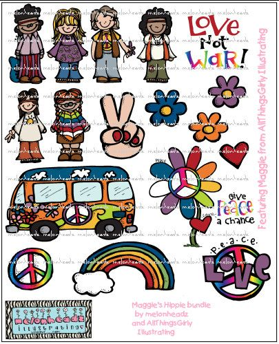Maggie's deluxe Hippie bundle  by melonheadzdoodles on Etsy, $7.00  This has inspired me! I would love this theme for our school field day... Love, Peace, and Field Day!