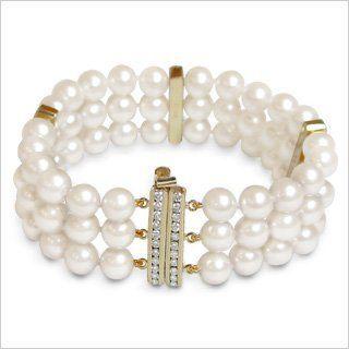 6.5x7mm AAA Quality Olivia Japanese Akoya Triple Strand Cultured Pearl Bracelet - 7 inches American Pearl. $3600.00