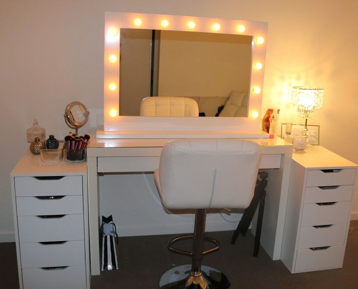 Square Mirror With Lights On Makeup Vanity Table With White Chair And  Drawers - Best 25+ Ikea Vanity Table Ideas On Pinterest White Makeup