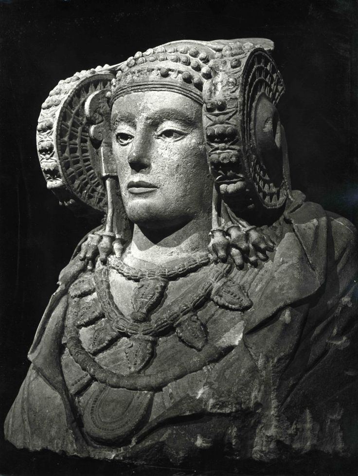 The Lady of Elche or Lady of Elx (Spanish: Dama de Elche, Valencian: Dama d'Elx, is a once polychrome stone bust that was discovered by chance in 1897 at L'Alcúdia, an archaeological site on a private estate about two kilometers south of Elx/Elche, Valencia, Spain. The Lady of Elche is generally believed to be a piece of Iberian sculpture from the 4th century BC.
