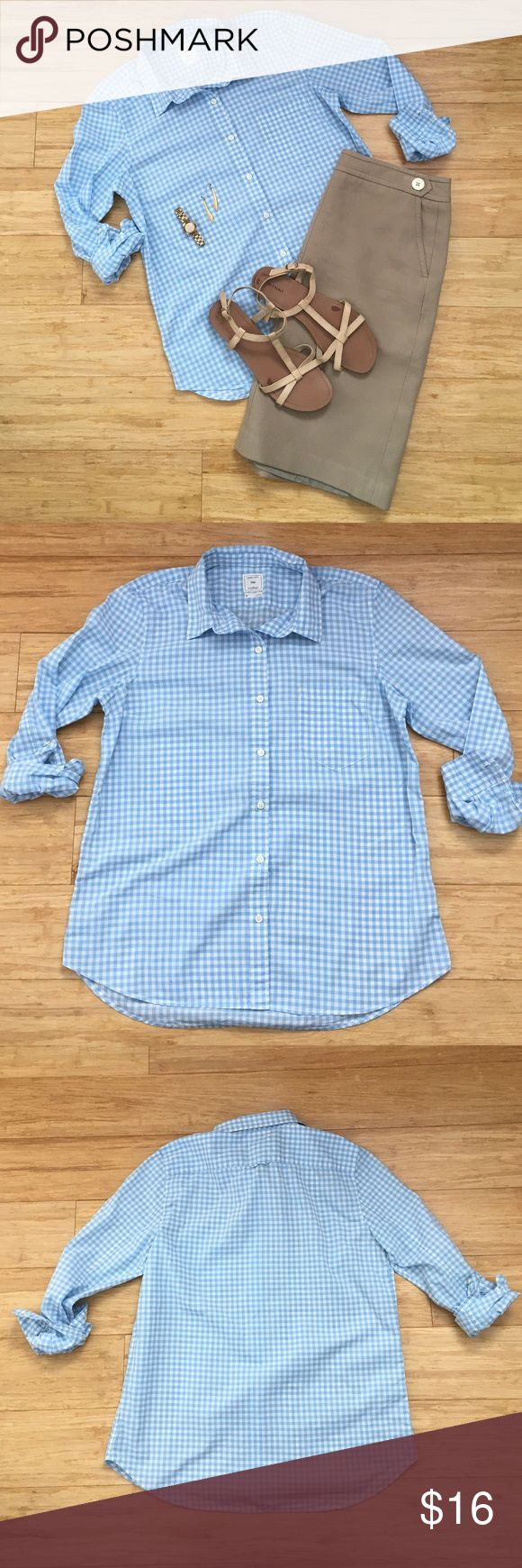 GAP Blue Gingham Shirt I wish this one fit--it was a favorite of mine!  100% cotton, powder blue gingham print.  Fitted boyfriend cut.  EUC.  You will want to wear this with everything, I promise! GAP Tops Button Down Shirts