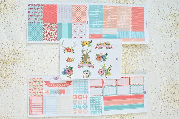 Floral Antlers weekly planner sticker kit