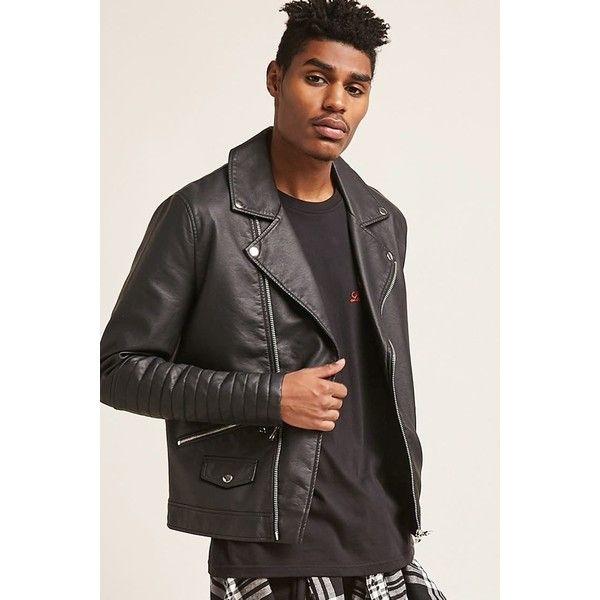 Forever21 Faux Leather Moto Jacket ($40) ❤ liked on Polyvore featuring men's fashion, men's clothing, men's outerwear, men's jackets, black, mens faux leather jacket, mens long jacket, mens zip jacket, mens faux leather motorcycle jacket and mens faux leather biker jacket