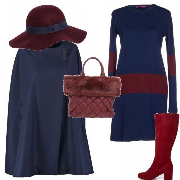 Comodo. caldo e con stile con questo abito in lana, avvolto dall'elegante cappa e sovrastato dal cappello a falda, tutti gli accessori riprendono il bordeaux della banda del vestito. Pratico ed elegante, per avere stile durante tutta la giornata.