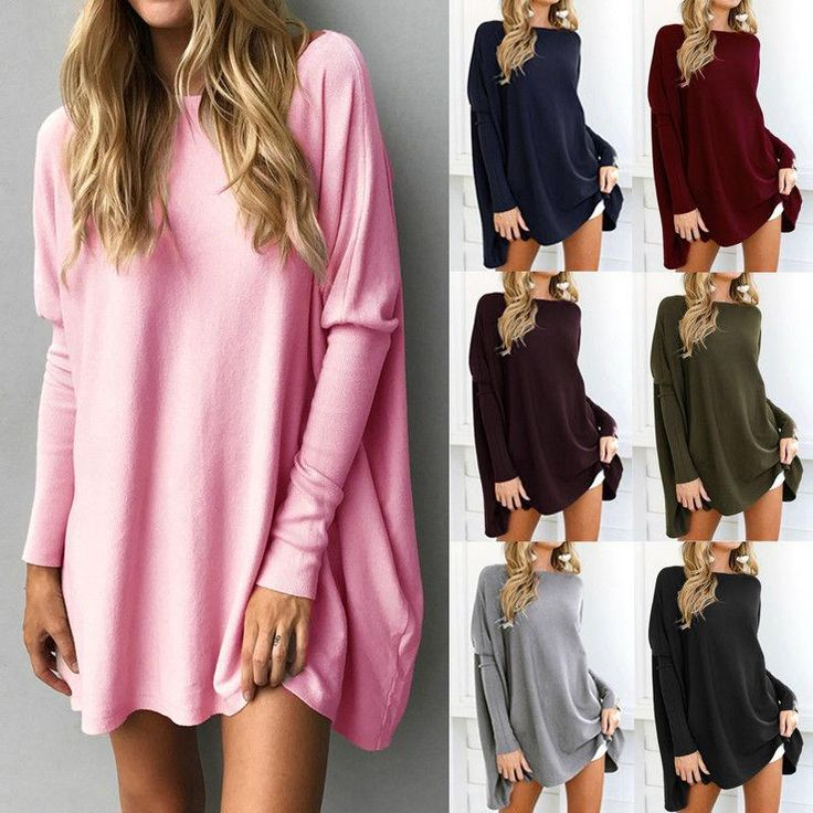 S-5XL 7 Colors Winter Women Baggy Sweater Dress Casual Jumper Pullover Oversized