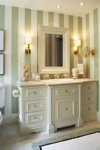 We love this striped bathroom! Wall treatments can give a more traditional look.   Bathroom Design & Details