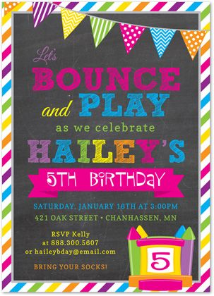 Bright Stripes Bounce House Chalkboard Birthday Party Invitations