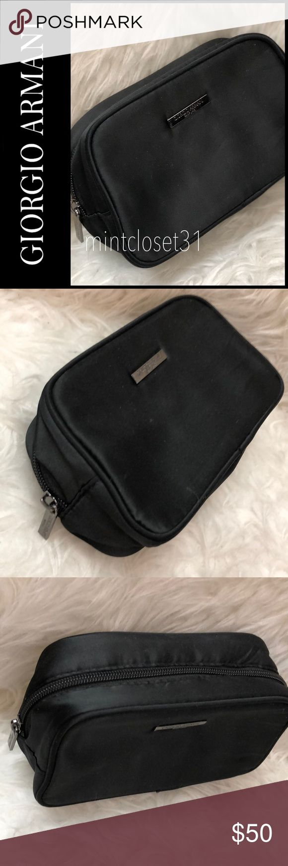 Giorgio Armani Traveler Pouch Giorgio Armani Designer Pouch in Minimalist Black With Gunmetal Tone Hardware! Use as a Traveler Essential Bag or a Cosmetic Case! Top Zipper Closure with Lined Interior and Slip Pockets! Used in Excellent Condition! Giorgio Armani Bags Cosmetic Bags & Cases