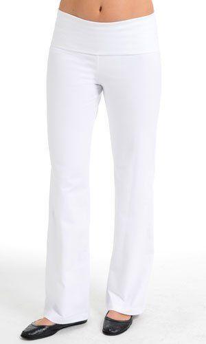 Ladies Yoga Pants - Foldover Cotton Spandex, Small White Yoga. $24.99