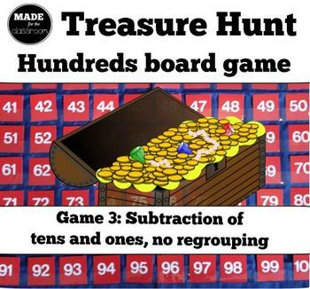 Treasure Hunt - SUBTRACTION (tens and ones) and number knowledge game