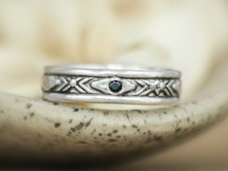 Awesome Bold Patterned Men us Engagement Ring with Inset Gemstone In Sterling Silver Unisex Wedding Band