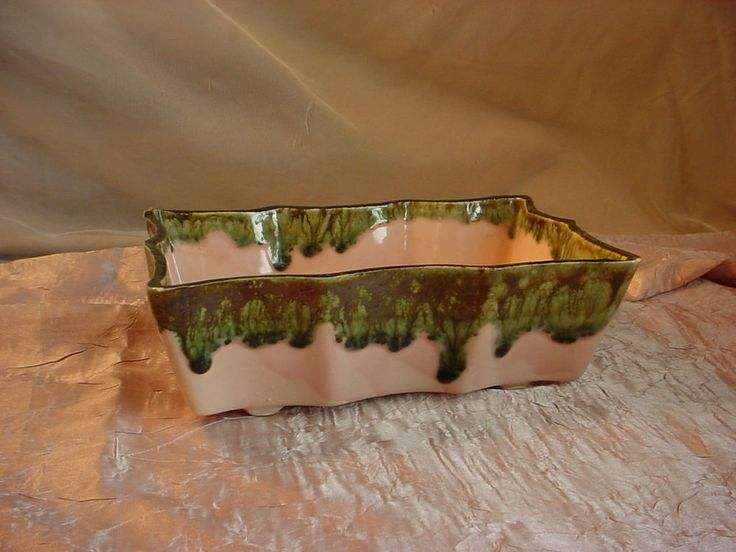 Vtg UPCO Pink Green Drip Glaze Planter 503 Pottery 5 by 8 inch