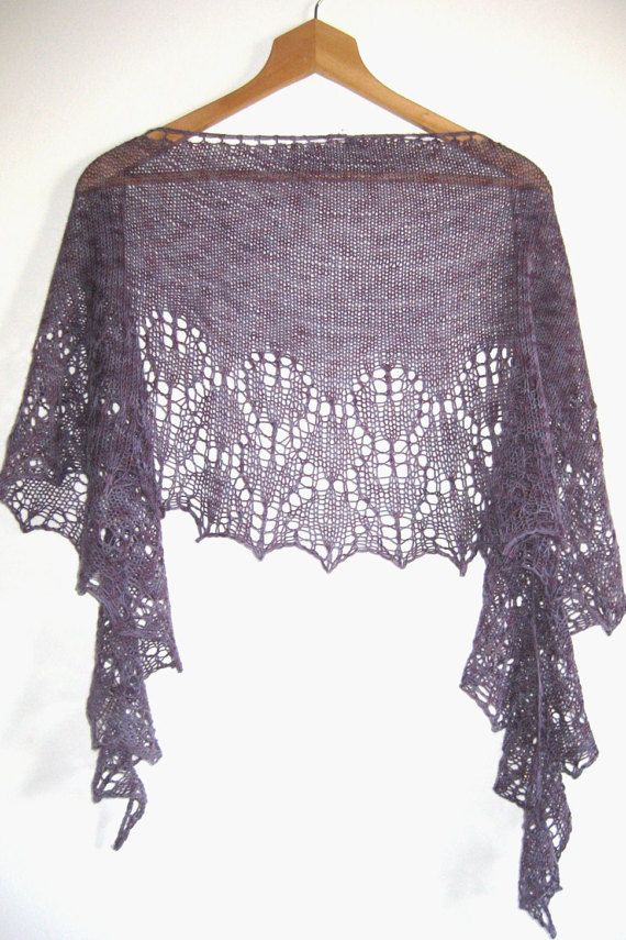 Lace Shawl Wrap Stole Handknitted Purple Violet di AtelierBusas