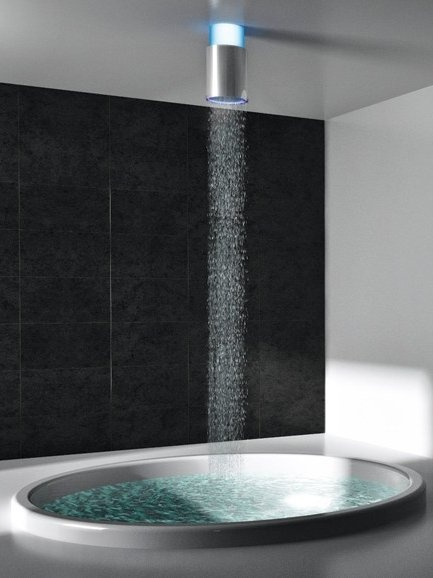 Marvelous Ceiling Mounted Overhead Shower With Built In Lights Good Ideas