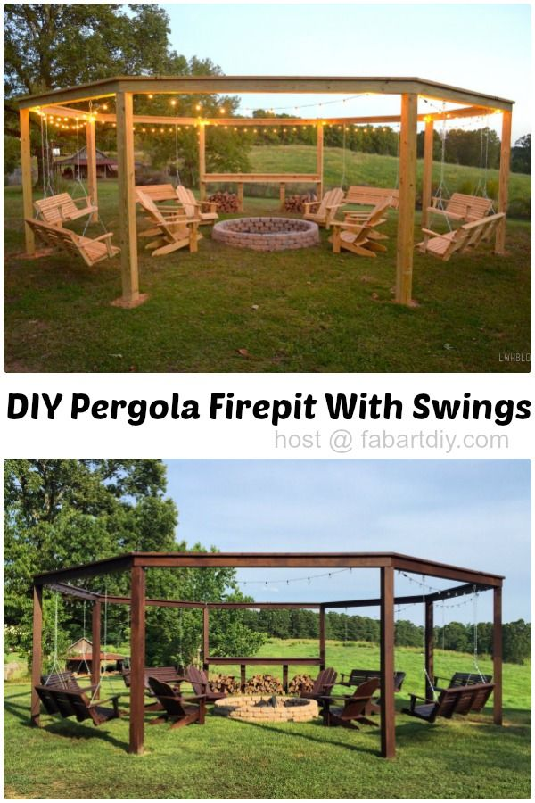 DIY Pergola Firepit with Swings with movie screen, perfect for summer party #Outdoor, #Woodworking, #Furniture